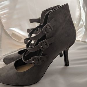Metaphor Zip Up Suede Heels